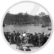 Boat Races In Central Park Round Beach Towel