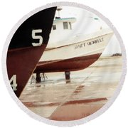 Boat Reflection 2 Round Beach Towel