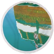 Boat Reflection In Water  Round Beach Towel