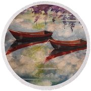 Boat Reflections Watercolor Painting Round Beach Towel