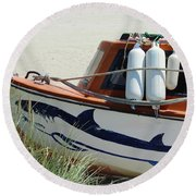 Boat Shark Decoration Donegal Round Beach Towel