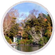 Boat Shed On The Waikato River Round Beach Towel
