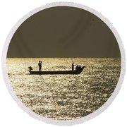 Boat Silhouette In Sunrise At Marina Beach, Chennai Round Beach Towel