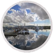 Boat Slips At Anacortes Cap Sante Marina In Washington State Round Beach Towel