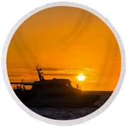 Boat Sunset Silhouette Round Beach Towel
