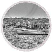 Lobster Boat Mount Sinai Harbor Li.ny Round Beach Towel