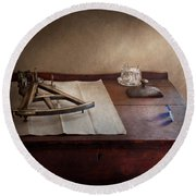 Boat - The Joy Of Sextant Round Beach Towel