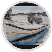 Boat Under Snow Round Beach Towel
