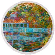 Boathouse At Mountain Lake Round Beach Towel