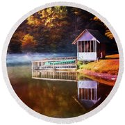Boathouse In Autumn Oil Painting Round Beach Towel