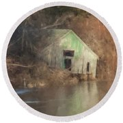 Boathouse On Solstice Round Beach Towel