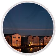 Boathouse Reflections With Moonset Round Beach Towel