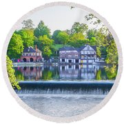 Boathouse Row - Framed In Spring Round Beach Towel