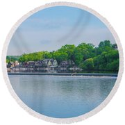 Boathouse Row From Mlk Drive - Philadelphia Round Beach Towel
