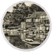 Boathouse Row In Sepia Round Beach Towel by Bill Cannon