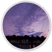 Boathouse Row In Twilight Round Beach Towel
