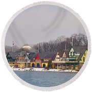 Boathouse Row On A Winter Morning Round Beach Towel
