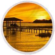 Boathouse Sunset Round Beach Towel