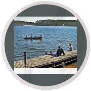 Boating And Sitting On The Dock Round Beach Towel