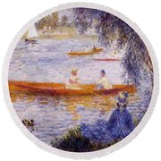 Boating At Argenteuil 1873 Round Beach Towel