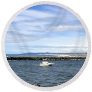 Boating At Bandon Round Beach Towel
