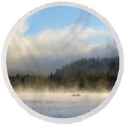 Boating At Trillium Lake One Foggy Morning Round Beach Towel