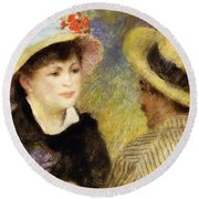Boating Couple Aline Charigot And Renoir 1881 Round Beach Towel
