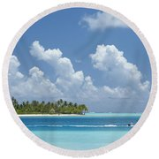Boating In A Tahitian Lagoon Round Beach Towel