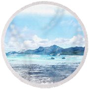 Boating Must Be Fun Round Beach Towel
