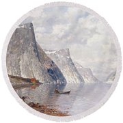 Boating On A Norwegian Fjord Round Beach Towel
