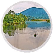 Boating On Connecticut River Between Vermont And New Hampshire Round Beach Towel