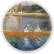 Boating On The Seine Round Beach Towel