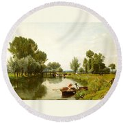 Boating On The Stour Round Beach Towel