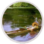 Boating Scene At Maidenhead Sir John Lavery Round Beach Towel