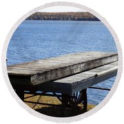 Boating Season Is Over Round Beach Towel
