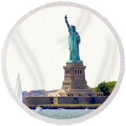 Boating With Liberty Round Beach Towel