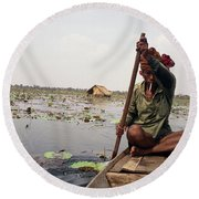 Boatman - Battambang Round Beach Towel