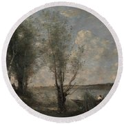 Boatman Among The Reeds Round Beach Towel by Jean-Baptiste-Camille Corot
