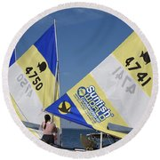 Boats 167 Round Beach Towel