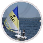 Boats 171 Round Beach Towel