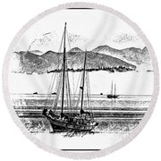 Boats Afloat Round Beach Towel