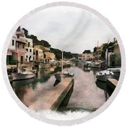 Boats Anchored Round Beach Towel