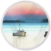 Boats Anchored With Mount Baker, Washington In Background Round Beach Towel
