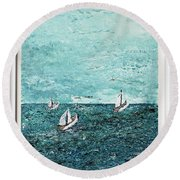 Boats And Birds Round Beach Towel