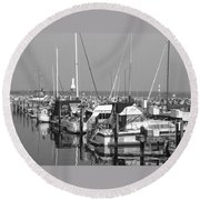 Boats And Reflections B-w Round Beach Towel