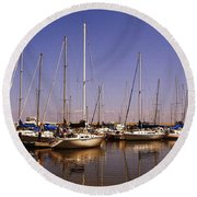 Boats And Reflections Round Beach Towel