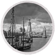 Boats And Shard And Tower Bridge Bw Round Beach Towel