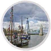 Boats And Shard And Tower Bridge Round Beach Towel