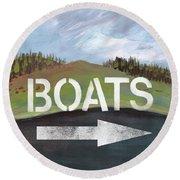 Boats- Art By Linda Woods Round Beach Towel