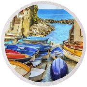 Boats At Cinque Terre Round Beach Towel
